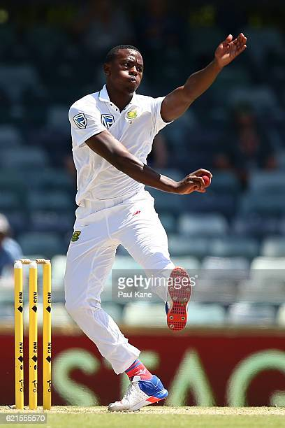 Kagiso Rabada of South Africa bowls during day five of the First Test match between Australia and South Africa at the WACA on November 7 2016 in...