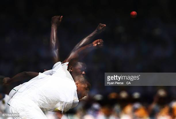 Kagiso Rabada of South Africa bowls during day two of the First Test match between Australia and South Africa at WACA on November 4, 2016 in Perth,...