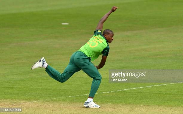 Kagiso Rabada of South Africa bowls during the ICC Cricket World Cup 2019 Warm Up match between Sri Lanka and South Africa at Cardiff Wales Stadium...