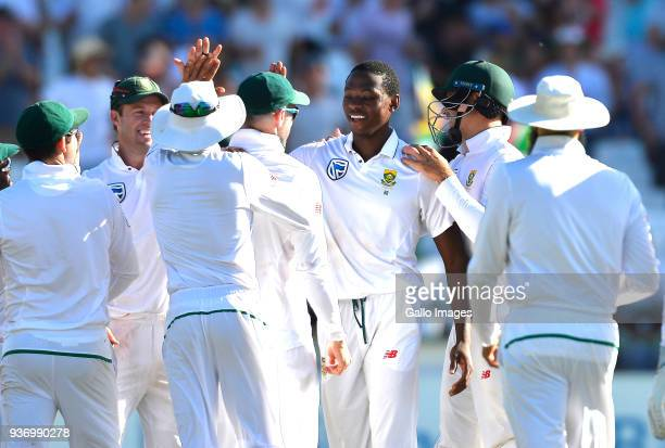 Kagiso Rabada of South Africa celebrate the wicket of Mitchell Starc of Australia during day two of the third Sunfoil Test match between South Africa...