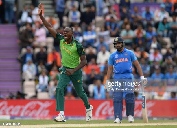Kagiso Rabada of South Africa celebrates after dismissing Shikhar Dhawan of India during the ICC Cricket World Cup Group Match between South Africa...