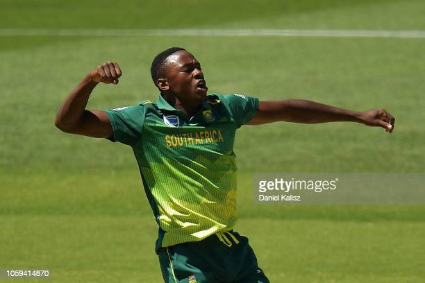 Kagiso Rabada of South Africa celebrates after taking the wicket of Shaun Marsh of Australia during game two of the One Day International series...