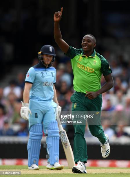 Kagiso Rabada of South Africa celebrates after taking the wicket of Joe Root of England during the Group Stage match of the ICC Cricket World Cup...