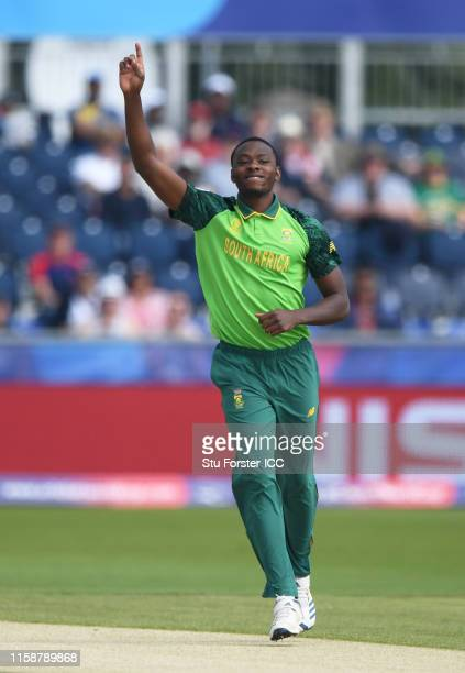 Kagiso Rabada of South Africa celebrates after taking the wicket of Dimuth Karunaratne of Sri Lanka during the Group Stage match of the ICC Cricket...