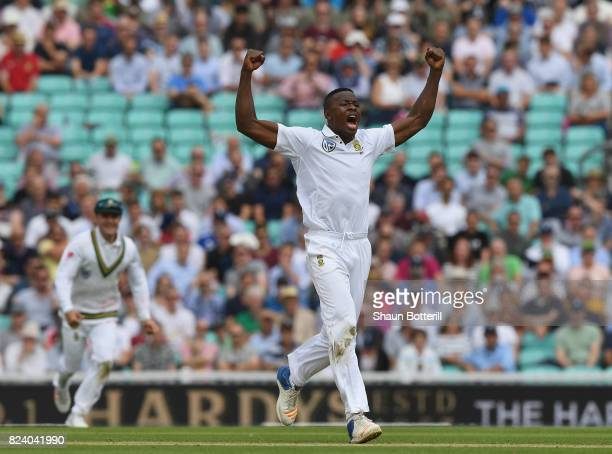 Kagiso Rabada of South Africa celebrates after taking the wicket of Jonny Bairstow of England on during day two of the 3rd Investec Test match...