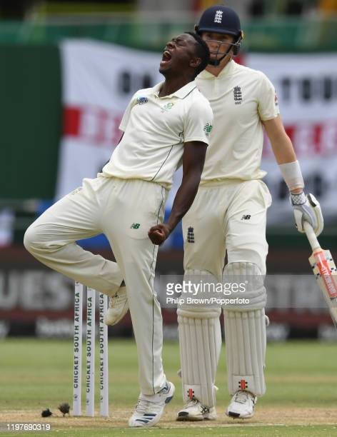 Kagiso Rabada of South Africa celebrates after the dismissal of Zac Crawley during Day Three of the Second Test between England and South Africa on...