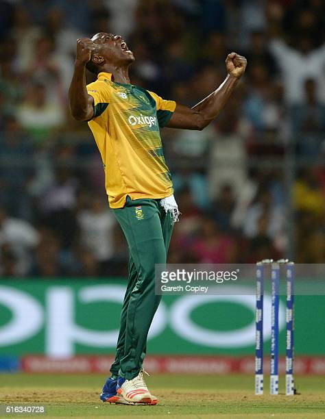 Kagiso Rabada of South Africa celebrates dismissing Ben Stokes of England during the ICC World Twenty20 India 2016 Super 10s Group 1 match between...