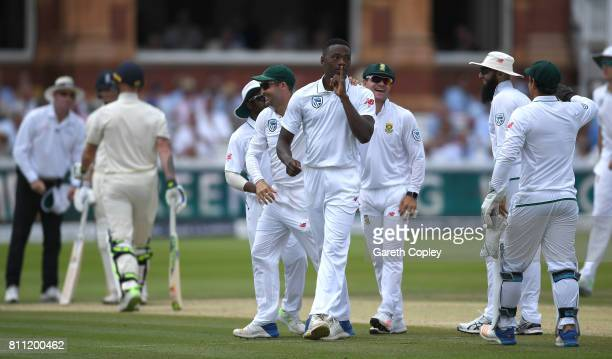 Kagiso Rabada of South Africa celebrates dismissing Ben Stokes of England during the 4th day of the 1st Investec Test between England and South...