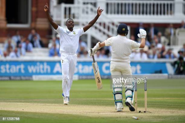 Kagiso Rabada of South Africa celebrates dismissing Liam Dawson of England during the 4th day of the 1st Investec Test between England and South...