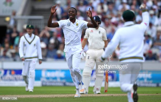 Kagiso Rabada of South Africa celebrates dismissing Tom Westley of England during day one of the 4th Investec Test between England and South Africa...