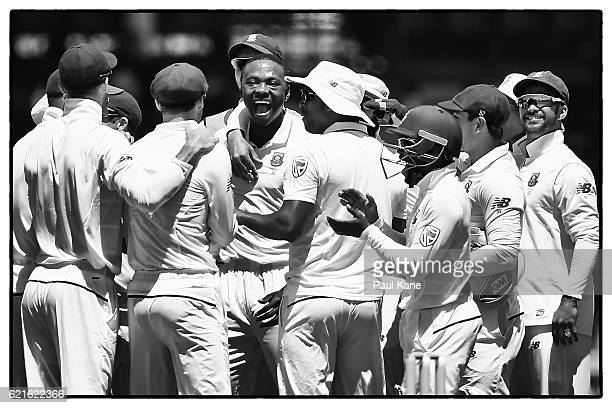 Kagiso Rabada of South Africa celebrates the wicket of Mitch Marsh of Australia during day five of the First Test match between Australia and South...