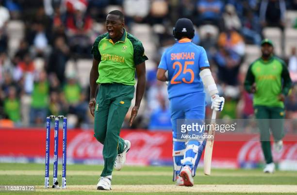 Kagiso Rabada of South Africa celebrates the wicket of Shikhar Dhawan of India during the Group Stage match of the ICC Cricket World Cup 2019 between...