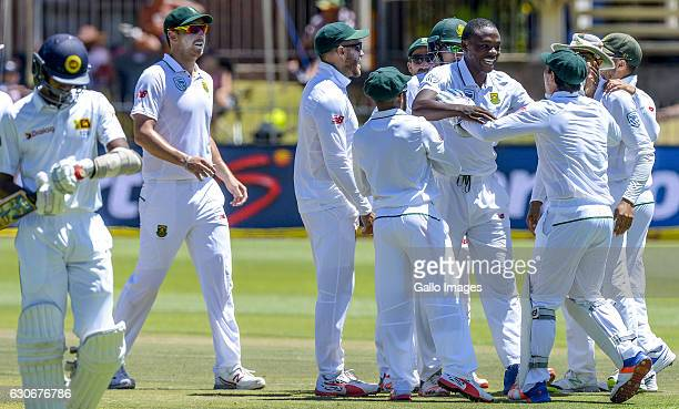 Kagiso Rabada of South Africa celebrates with the team during day 5 of the 1st Test match between South Africa and Sri Lanka at St George's Park on...