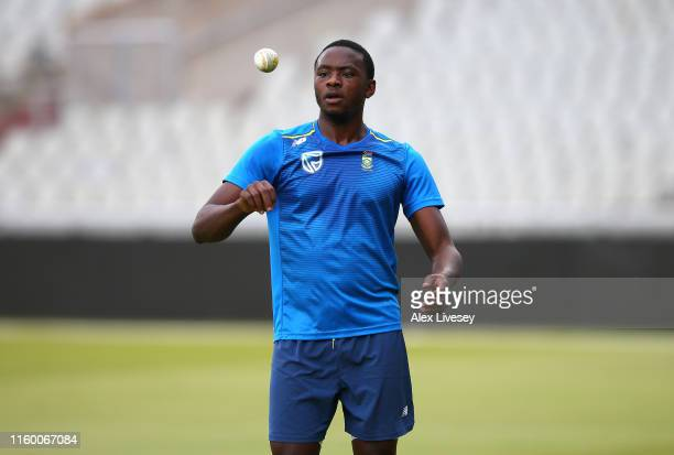 Kagiso Rabada of South Africa during a training session at Old Trafford during the ICC Cricket World Cup on July 04, 2019 in Manchester, England.