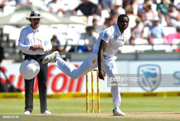 Kagiso Rabada of South Africa during day 2 of the 3rd Sunfoil Test match between South Africa and Australia at PPC Newlands on March 23 2018 in Cape...
