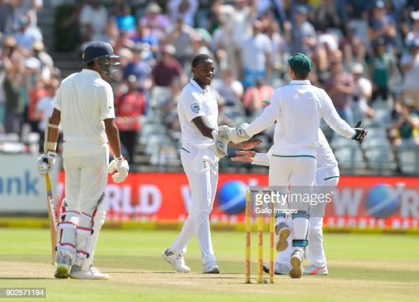 Kagiso Rabada of South Africa during day 4 of the 1st Sunfoil Test match between South Africa and India at PPC Newlands on January 08 2018 in Cape...