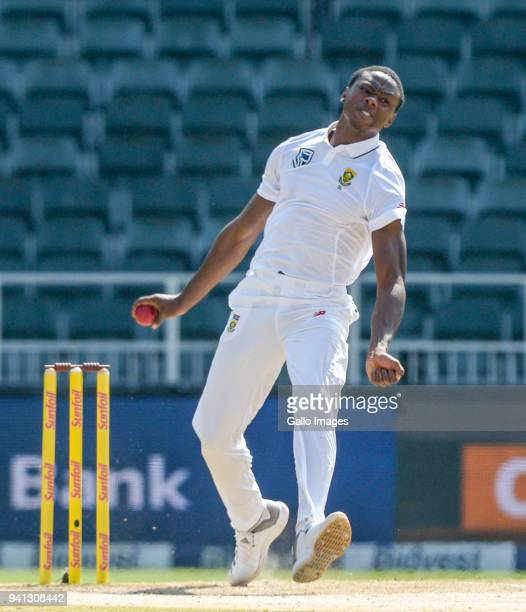 Kagiso Rabada of South Africa during day 5 of the 4th Sunfoil Test match between South Africa and Australia at Bidvest Wanderers Stadium on April 03...