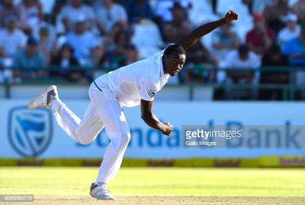 Kagiso Rabada of South Africa during day two of the third Sunfoil Test match between South Africa and Australia at PPC Newlands on March 23 2018 in...