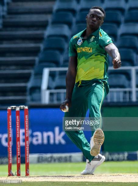 Kagiso Rabada of South Africa during the 1st Momentum ODI match between South Africa and Sri Lanka at Bidvest Wanderers Stadium on March 03, 2019 in...
