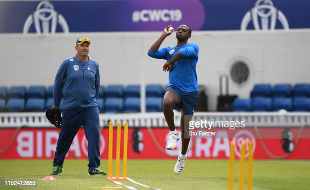 Kagiso Rabada of South Africa in action during South Africa nets ahead of their opening ICC CRricket World Cup match against England at The Oval on...