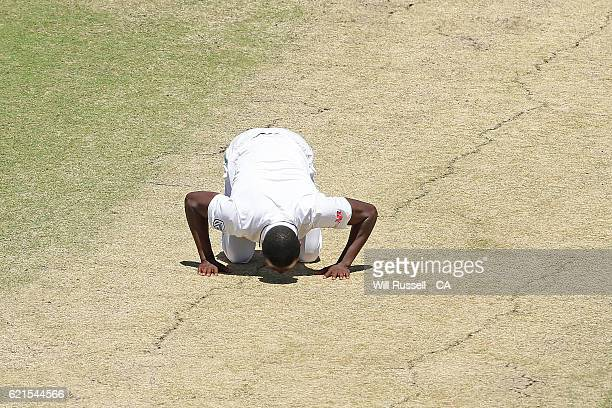 Kagiso Rabada of South Africa kisses the wicket after dismissing Mitchell Starc of Australia during day five of the First Test match between...