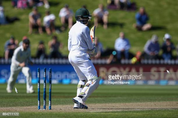 Kagiso Rabada of South Africa looks on after being bowled out by Tim Southee of New Zealand during day two of the test match between New Zealand and...