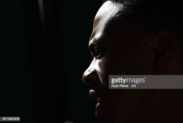 Kagiso Rabada of South Africa looks on after day five of the First Test match between Australia and South Africa at WACA on November 7, 2016 in...