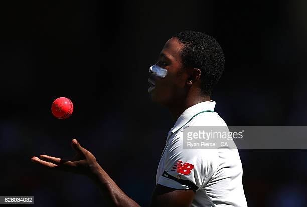 Kagiso Rabada of South Africa prepares to bowl during day four of the Third Test match between Australia and South Africa at Adelaide Oval on...