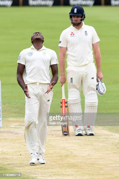 Kagiso Rabada of South Africa reacts in frustration during day 3 of the 1st Test match between South Africa and England at SuperSport Park on...