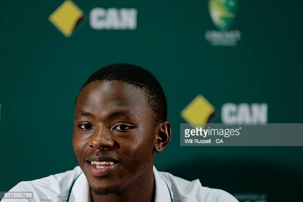 Kagiso Rabada of South Africa speaks at a press conference after defeating Australia during day five of the First Test match between Australia and...