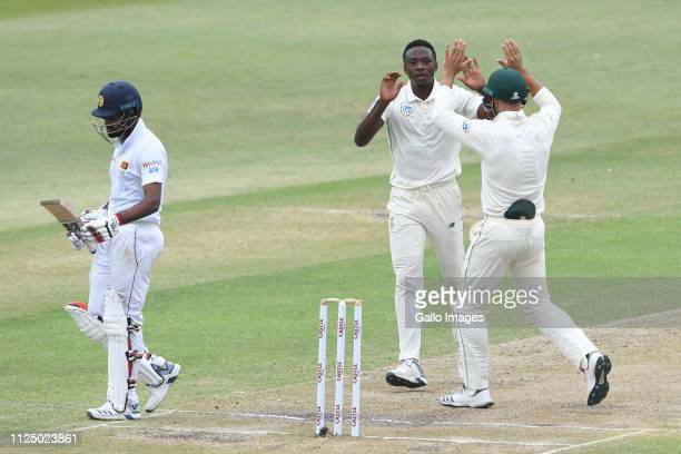 Kagiso Rabada of the Proteas celebrates the wicket of Lahiru Thirimanne of Sri Lanka with Aiden Markram of the Proteas during day 3 of the 1st Test...