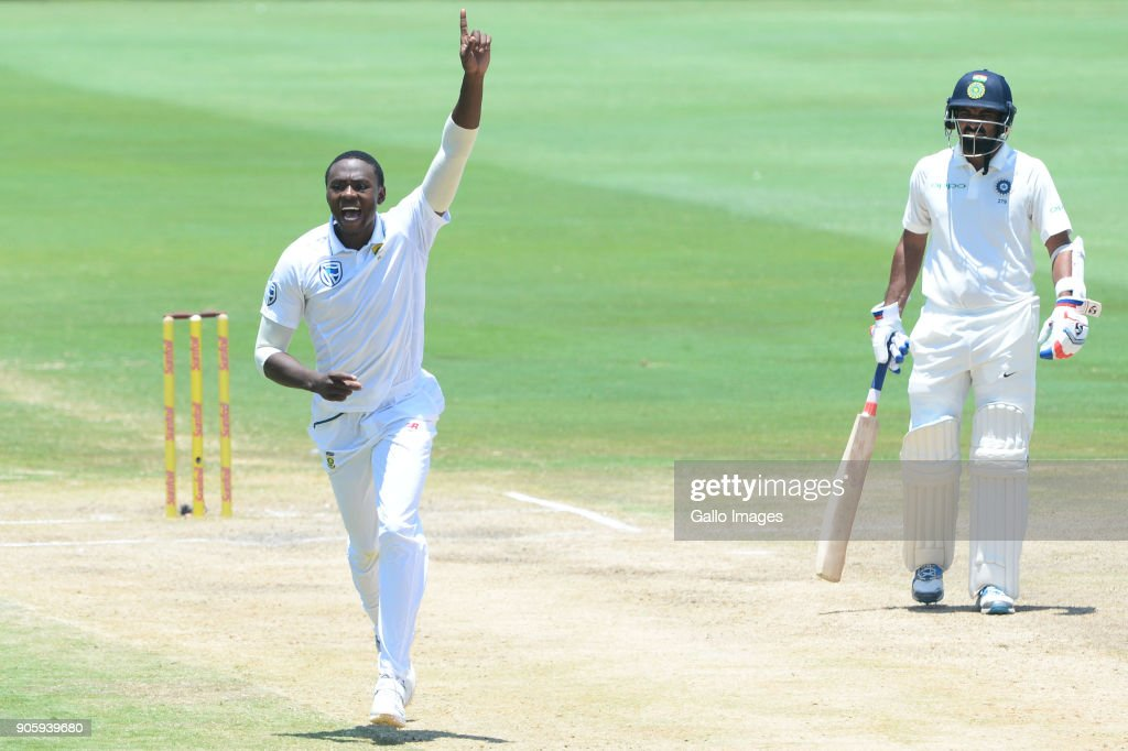 Kagiso Rabada of the Proteas celebrates the wicket of Rohit Sharma of India during day 5 of the 2nd Sunfoil Test match between South Africa and India at SuperSport Park on January 17, 2018 in Pretoria, South Africa.