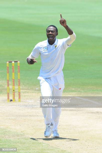 Kagiso Rabada of the Proteas celebrates the wicket of Rohit Sharma of India during day 5 of the 2nd Sunfoil Test match between South Africa and India...