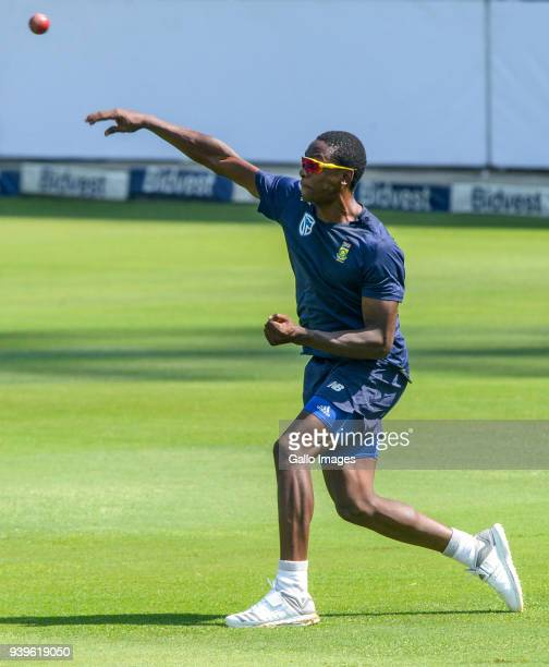 Kagiso Rabada of the Proteas during the South Africa training session at Bidvest Wanderers Stadium on March 29 2018 in Johannesburg South Africa