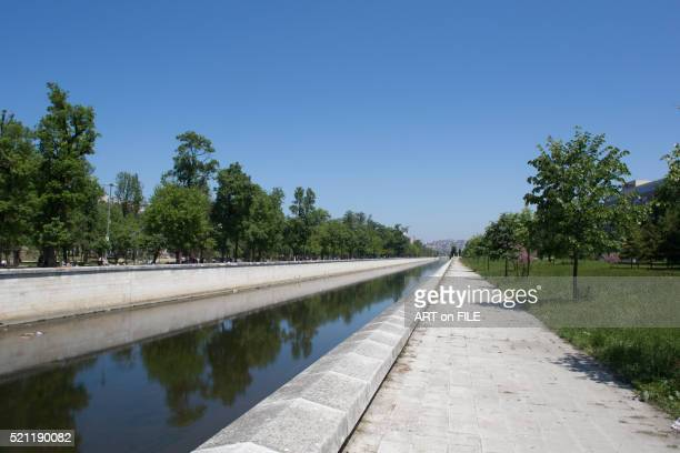 kagithane park, flood drainage basin, park to left - canal stock pictures, royalty-free photos & images