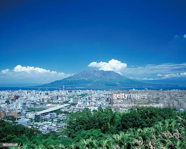 Kagoshima city and Mt Sakurajima, Kagoshima Prefecture, Kyushu, Japan