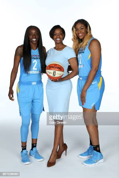 Kahleah Copper Head Coach Amber Stocks and Cheyenne Parker of the Chicago Sky pose for portraits during WNBA Media Day 2018 on May 9 2018 at the...