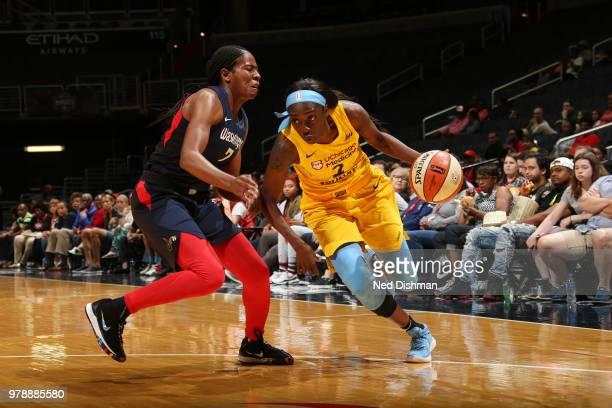 Kahleah Copper of the Chicago Sky handles the ball against Ariel Atkins of the Washington Mystics on June 19 2018 at Capital One Arena in Washington...