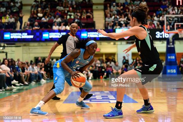 Kahleah Copper of the Chicago Sky handles the ball against the New York Liberty on July 15 2018 at Westchester County Center in White Plains New York...