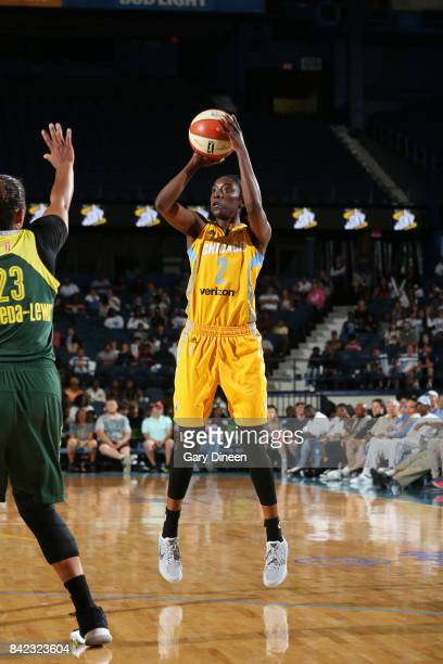 Kahleah Copper of the Chicago Sky passes the ball against the Seattle Storm on September 3 2017 at Allstate Arena in Rosemont IL NOTE TO USER User...