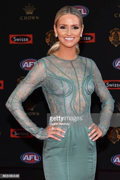 Kahlia Ashton partner of Jeremy Howe of the Pies arrives ahead of the 2017 Brownlow Medal at Crown Entertainment Complex on September 25 2017 in...