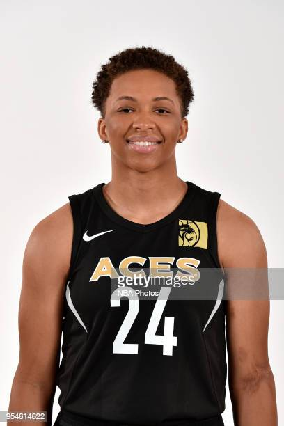 Kahlia Lawrence of the Las Vegas Aces poses for a head shot at WNBA Media Day at MGM Grand Garden Arena on May 3 2018 in Las Vegas Nevada NOTE TO...