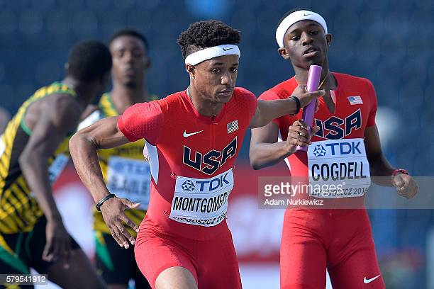 Kahmari Montgomery gets a stick from Ari Cogdell both from USA while in men's 4x400 meters relay final during the IAAF World U20 Championships at the...
