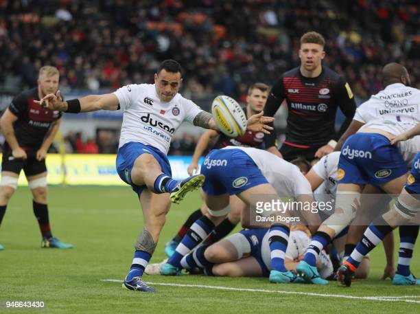 Kahn Fotuali'i of Bath kicks the ball upfield during the Aviva Premiership match between Saracens and Bath Rugby at Allianz Park on April 15 2018 in...