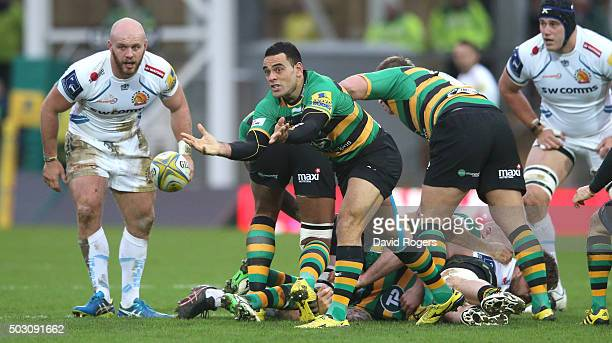 Kahn Fotuali'i of Northampton passes the ball during the Aviva Premiership match between Northampton Saints and Exeter Chiefs at Franklin's Gardens...