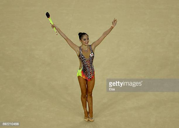 Kaho Minagawa of Japan celebrates after her club routine during the Rhythmic Gymnastics Individual AllAround on August 19 2016 at Rio Olympic Arena...