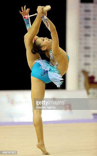 Kaho Minagawa of Japan competes during the 33rd Rhythmic Gymnastics World Championships in Izmir Turkey on September 26 2014