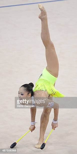 Kaho Minagawa of Japan competes during the 34th Rhythmic Gymastics World Championships on September 10 2015 in Stuttgart Germany