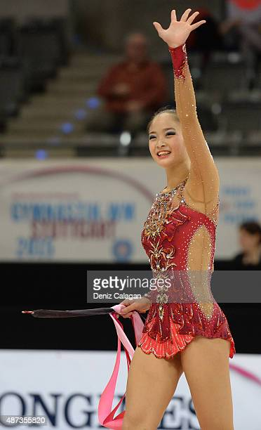 Kaho Minagawa of Japan competes during the 34th Rhythmic Gymnastics World Championships on September 9 2015 in Stuttgart Germany