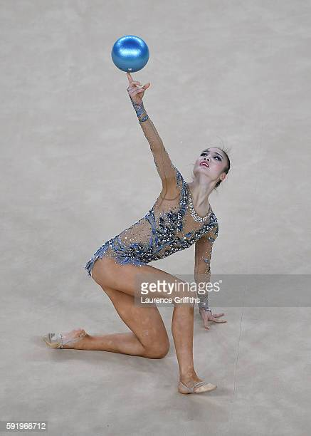 Kaho Minagawa of Japan competes during the Rhythmic Gymnastics Individual AllAround on August 19 2016 at Rio Olympic Arena in Rio de Janeiro Brazil